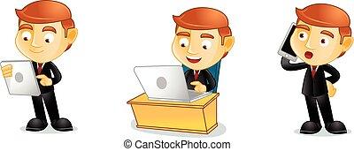 uomo affari, laptop, vettore, arte