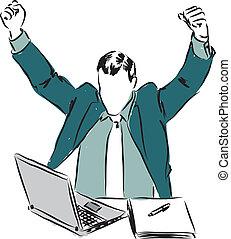 uomo affari, laptop, vincitore, illu