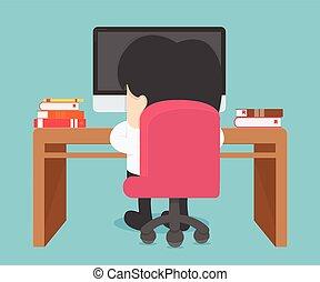 uomo affari, lavorando, uno, computer portatile