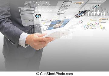 uomo affari, lavorando, virtuale, screen.business, concetto