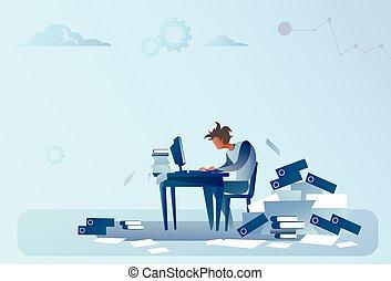 uomo affari, lavorare computer, sovraccaricare, documenti,...