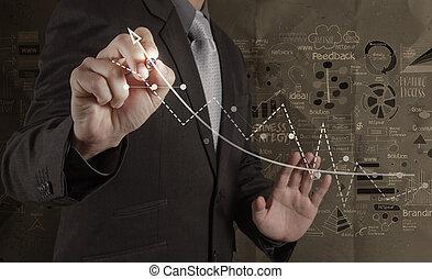 uomo affari, lavorativo, con, nuovo, moderno, computer, e, mano, disegnato, strategia affari, su, carta spiegazzata, fondo, come, concetto