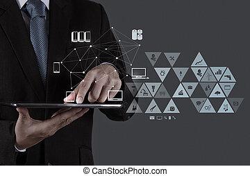 uomo affari, lavorativo, con, nuovo, moderno, computer, mostra, sociale, rete, struttura