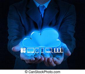 uomo affari, lavorativo, con, uno, nuvola, calcolare, diagramma, su, il, computer nuovo, interfaccia