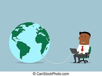 uomo affari, lavorativo, linea, su, uno, laptop
