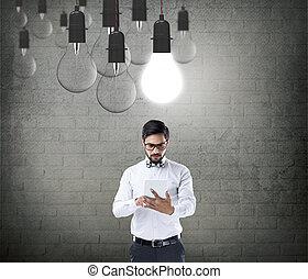 uomo affari, lavorativo, tavoletta, digitale