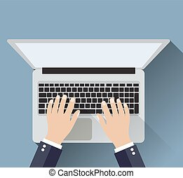 uomo affari, lavorativo, uno, laptop.