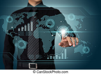 uomo affari, lavorativo, wth, schermo tocco, tecnologia