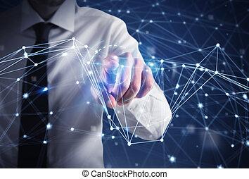 uomo affari, lavori in corso, con, futuristico, internet, interfaccia