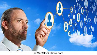 uomo affari, lavori in corso, con, sociale, rete