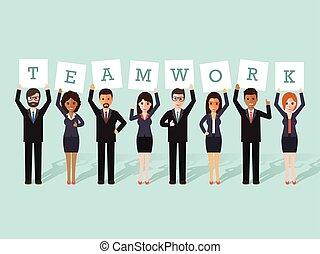 uomo affari, lavoro squadra, donna d'affari
