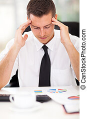 uomo affari, lavoro, stressante