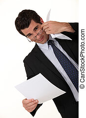 uomo affari, lettura, intelligente, documento