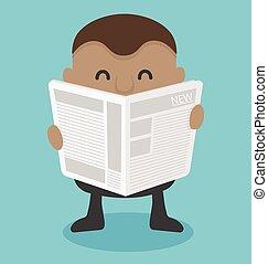 uomo affari, lettura, newspaper.vector, giovane, africano