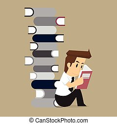 uomo affari, libro, studi