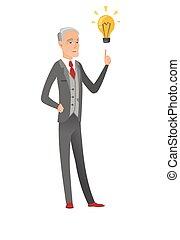 uomo affari, lightbulb., idea, indicare, caucasico