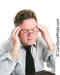 uomo affari, mal di testa