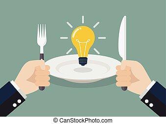 uomo affari, mangiare, idea