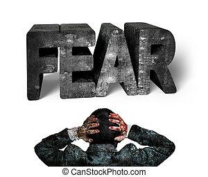 uomo affari, mani, testa tiene, prospiciente, 3d, paura,...