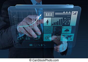 uomo affari, mano, lavorativo, con, nuovo, moderno, computer, e, strategia affari, come, concetto