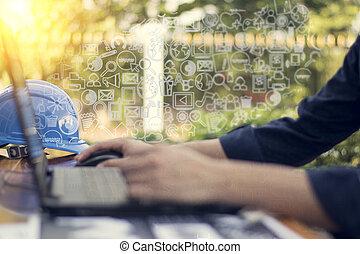 uomo affari, mano, lavorativo, con, nuovo, moderno, computer, e, tecnologia affari, concetto