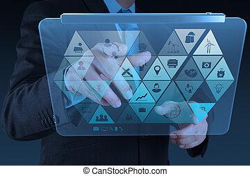 uomo affari, mano, lavorativo, con, tecnologia moderna