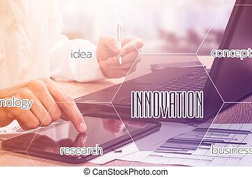 uomo affari, mano, lavorativo, con, tecnologia moderna, e, digitale, strato, effetto, come, strategia affari, concetto