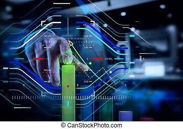 uomo affari, mano, lavorativo, con, virtuale, grafico, affari, su, schermo tocco, computer