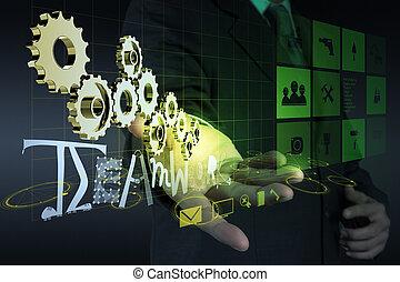 uomo affari, mano, parola, esposizione, ingranaggio, successo, 3d, lavoro squadra, disegno, concetto, grafico