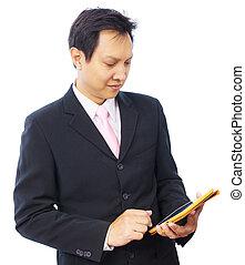 uomo affari, mano, usando, pc tavoletta