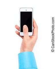 uomo affari, mano, usando, smartphone, bianco