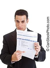 uomo affari, medico, isolato, bianco, dovuto, indicare, bill...