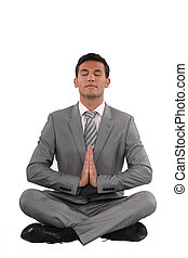 uomo affari, meditare