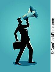 uomo affari, megafono, usando