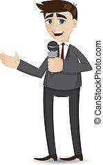 uomo affari, microfono, cartone animato, tailking