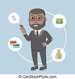 uomo affari, mobile, bancario