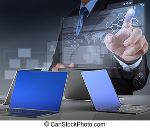 uomo affari, moderno, tecnologia, lavorativo
