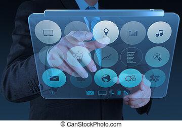 uomo affari, moderno, tecnologia, lavorativo, mano