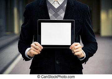 uomo affari, mostra, tavoletta digitale