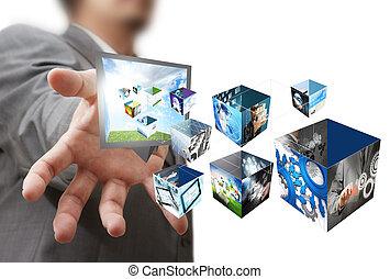 uomo affari, mostra, uno, creativo, scatola, con, 3, d,...