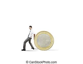 uomo affari, movimenti, uno, coin., concetto, di, difficoltà, a, denaro risparmio