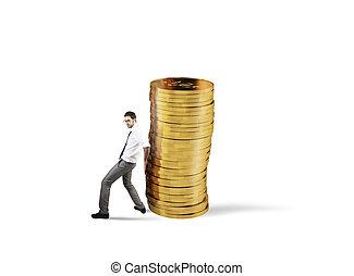 uomo affari, movimenti, uno, mucchio, di, monete., concetto, di, difficoltà, a, denaro risparmio