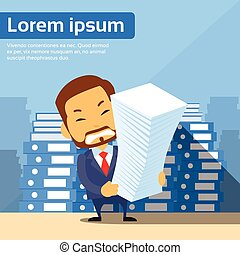 uomo affari, mucchio, pila, carta, documenti, lotto, di,...