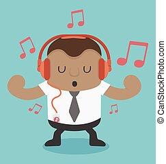 uomo affari, musica, giovane, ascolto, africano