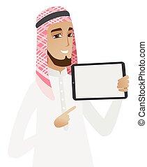uomo affari, musulmano, presa a terra, tavoletta, computer.