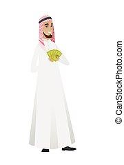 uomo affari, musulmano, soldi., presa a terra, felice