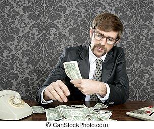 uomo affari, note, dollaro, ragioniere, nerd