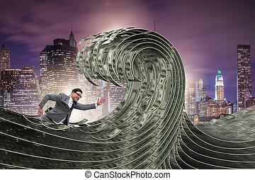 uomo affari, nuoto, in, il, mare, di, dollaro, soldi
