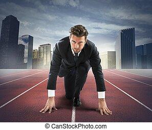 uomo affari, nuovo, sfida