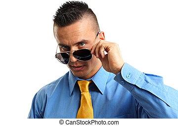 uomo affari, occhiali da sole, bello